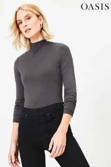 Oasis Grey Turtle Neck Top