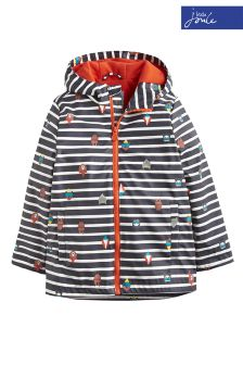 Joules Navy Stripe Skipper Hooded Rubber Jacket