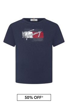 Tommy Hilfiger Girls Navy Cotton T-Shirt