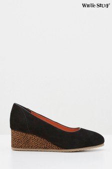 White Stuff Black Issy Wedge Court Shoes