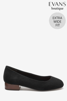 Evans Black Extra Wide Fit Square Toe Low Heels