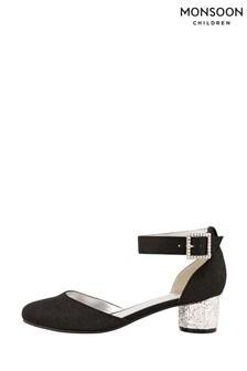 Monsoon Black Glitter Heel Shoes