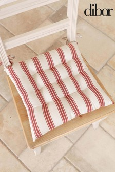 Set of 4 French Stripe Red Seat Pads by Dibor