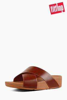 FitFlop™ Caramel Leather Lulu Cross Slide Sandal