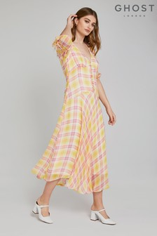 Ghost London Yellow Megan Poppy Tartan Print Georgette Dress