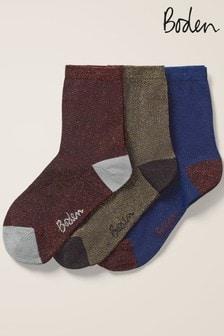 Boden Metallic Sparkle Socks Three Pack