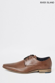 River Island Mid Brown Rixone Textured Derby Shoes