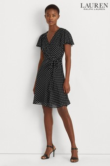 Lauren Ralph Lauren® Black Polka Dot Stretch Jaden Wrap Dress