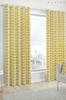Fusion Delft Skandi Geo Leaf Lined Eyelet Curtains