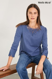 White Stuff Blue Cinnamon Lace T-Shirt