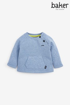 Baker by Ted Baker Baby Boys Blue Marl Button Sweatshirt