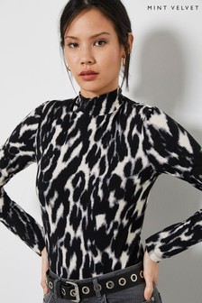 Mint Velvet Grey Leopard Polo Neck Top