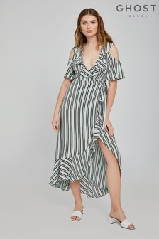 Ghost London Green Lydia Pepper Stripe Print Crepe Dress