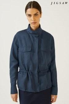 Jigsaw Navy Linen Tencel® Jacket