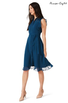 Phase Eight Blue Riley Chiffon Dress