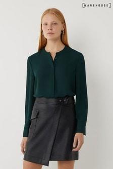 Warehouse Green Grandad Collar Shirt