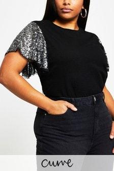 River Island Plus Black Sequin Angel Sleeve T-Shirt