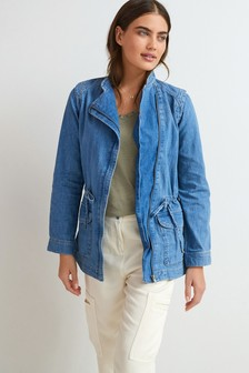 Relaxed Biker Denim Jacket