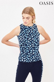 Oasis Blue Animal Knot Back Top