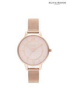 Olivia Burton Wonderland Grey And Rose Gold Mesh Watch