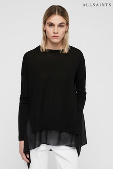 All Saints Black Oversized Libby Crew Jumper