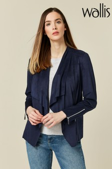 Wallis Navy Suedette Zip Cuff Waterfall Jacket