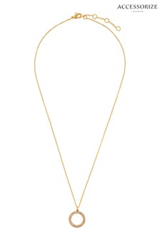 Accessorize Gold Plated Pave Circle Necklace