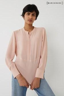 Warehouse Pink Grandad Collar Shirt