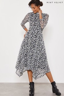Mint Velvet White Bonnie Print Jersey Midi Dress