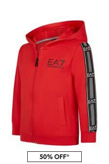 EA7 Emporio Armani Boys Red Cotton Zip Up Top