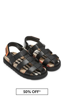 Burberry Kids Black Sandals