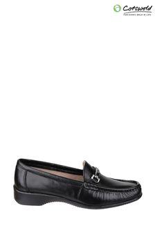 Cotswold Barrington Black Slip on Loafer Shoes