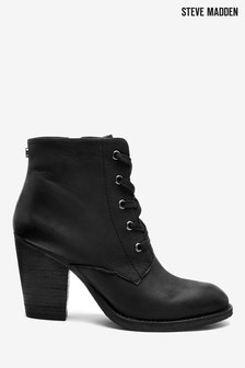 Steve Madden Yom Black Lace Up Heeled Boots