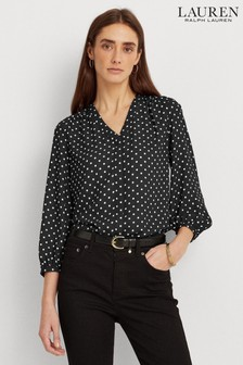 Lauren Ralph Lauren® Black Polka Dot Fajola Blouse