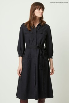 French Connection Black Luisa Chambray Belted Dress