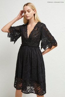 French Connection Black Alle Sandra Lace Dress