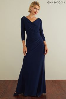 Gina Bacconi Navy Marlena Jersey Maxi Dress