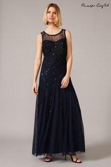 Phase Eight Blue Greta Embellished Tulle Maxi Dress