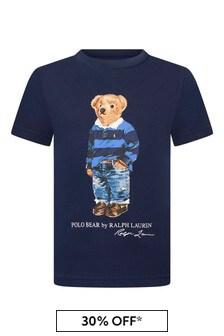 Boys Navy Cotton Jersey Bear T-Shirt
