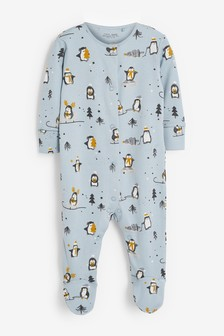 GOTS Organic Christmas Penguin Sleepsuit (0-2yrs)
