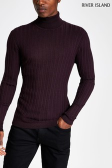 River Island Purple Rib Roll Neck Jumper