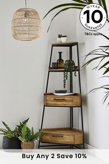 Jefferson Rustic Corner Ladder Shelf