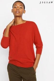 Jigsaw Orange Button Back Drop Hem Sweater