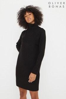 Oliver Bonas Black Ribbed High Neck Knitted Jumper Dress
