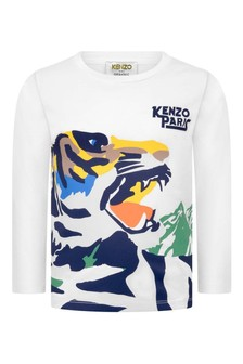 Boys White Tiger Cotton Long Sleeve T-Shirt