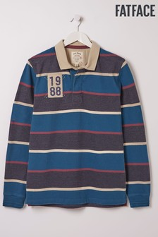 FatFace Blue Multi Stripe Rugby Top