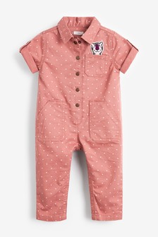 Cotton Boilersuit With Tiger Badge (3mths-7yrs)