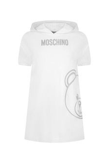 Moschino Kids Girls White Cotton Dress