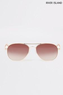River Island Gold Chain Arm Maisie Pink Lens Sunglasses