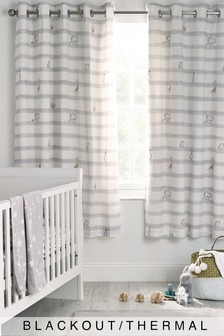 Baby Animals Striped Eyelet Blackout Curtains